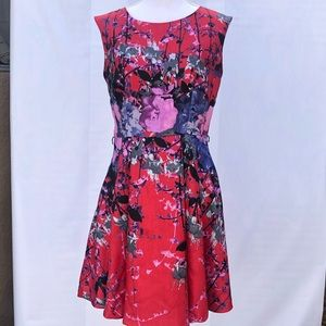 Julian Taylor red floral sleeveless dress size 12